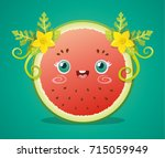 cute watermelon half with... | Shutterstock .eps vector #715059949