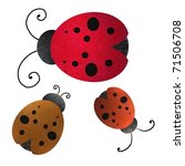 Lady Bugs In Different Red...