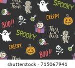 halloween doodle seamless... | Shutterstock .eps vector #715067941