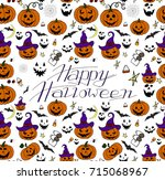 hand drawn halloween set. happy ... | Shutterstock .eps vector #715068967