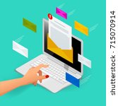 incoming email isometric vector ... | Shutterstock .eps vector #715070914