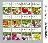 set of 12 exotic fruits posters ... | Shutterstock .eps vector #715074241