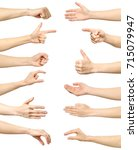 female hand gestures and signs... | Shutterstock . vector #715079947