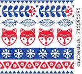 scandinavian seamless vector... | Shutterstock .eps vector #715095295