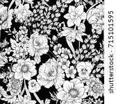 seamless pattern with poppy... | Shutterstock .eps vector #715101595