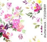watercolor floral pattern.... | Shutterstock . vector #715104859