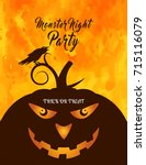 happy halloween poster with... | Shutterstock .eps vector #715116079