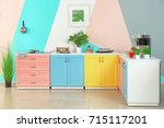 colorful modern kitchen interior | Shutterstock . vector #715117201