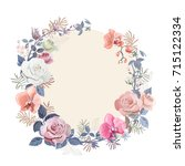 floral wreath with bouquet... | Shutterstock .eps vector #715122334