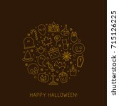 halloween card of line icons.... | Shutterstock .eps vector #715126225