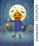 jack with lantern in the... | Shutterstock .eps vector #715129174