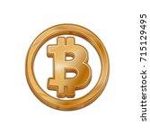 golden bitcoin symbol isolated... | Shutterstock .eps vector #715129495