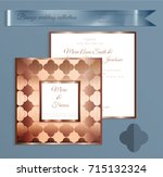 luxury bronze shiny wedding... | Shutterstock .eps vector #715132324