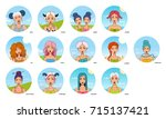 set of all zodiac signs ... | Shutterstock .eps vector #715137421