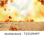 Autumn Maple Leaves On Wooden ...