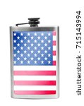 alcohol flask with flag on the... | Shutterstock . vector #715143994