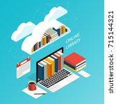 online library file isometric... | Shutterstock .eps vector #715144321
