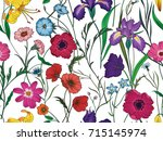 beautiful seamless floral... | Shutterstock .eps vector #715145974