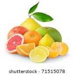 Heap Of Citrus Fruits Isolated...
