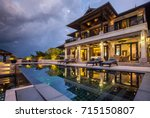 luxury villa with big swimming... | Shutterstock . vector #715150807
