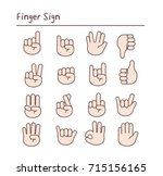 finger sign. set of language... | Shutterstock .eps vector #715156165