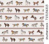 horse doodle illustration... | Shutterstock .eps vector #715156315