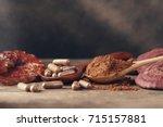 ganoderma lucidum mushroom with ... | Shutterstock . vector #715157881