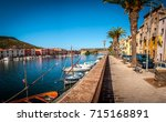 view of ancient village of bosa ... | Shutterstock . vector #715168891