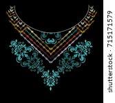 vintage neckline hand drawn...   Shutterstock .eps vector #715171579