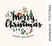 christmas vector lettering...   Shutterstock .eps vector #715173661