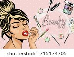 beautiful pin up style sexy... | Shutterstock .eps vector #715174705