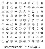 set of 100 ecology minimal and... | Shutterstock .eps vector #715186039