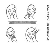 beauty icons  acne treatment ... | Shutterstock .eps vector #715187905