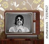 geek mustache tv presenter in... | Shutterstock . vector #71519017