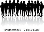 silhouette of a woman. | Shutterstock .eps vector #715191601