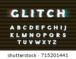 vector white glitch font.... | Shutterstock .eps vector #715201441