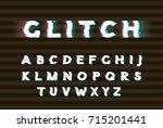 vector white glitch font.... | Shutterstock .eps vector #715201441