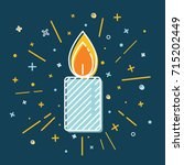 Colored Christmas Candle Icon...