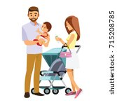 young family with baby in... | Shutterstock .eps vector #715208785