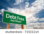 debt free green road sign with... | Shutterstock . vector #71521114