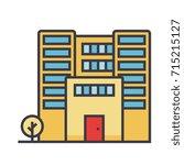 office building flat line...   Shutterstock .eps vector #715215127
