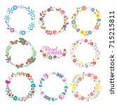vector collection wreath floral ... | Shutterstock .eps vector #715215811