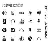 set of 20 editable music icons. ...
