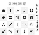 set of 20 editable instrument... | Shutterstock .eps vector #715220929