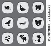 set of 9 editable zoo icons.... | Shutterstock .eps vector #715221199