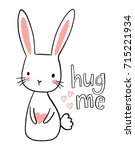 cute hand drawn bunny...   Shutterstock .eps vector #715221934