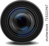 Illustration Realistic Vector Camera Lens Black color