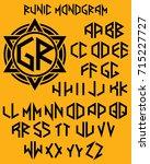 vector monogram pattern with... | Shutterstock .eps vector #715227727