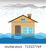 city   flood flooding water in... | Shutterstock .eps vector #715227769