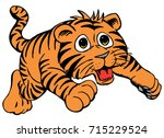 cartoon tiger cub  friendly and ... | Shutterstock .eps vector #715229524